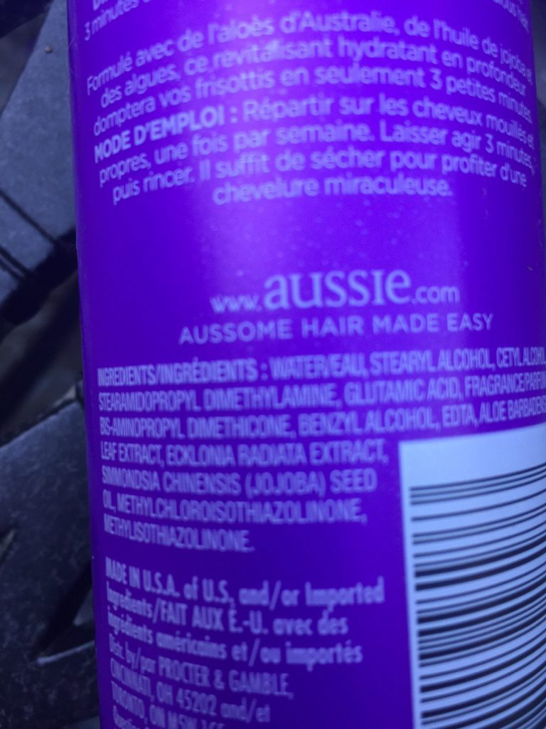 Aussie Smooth three minute conditioner Ingredients