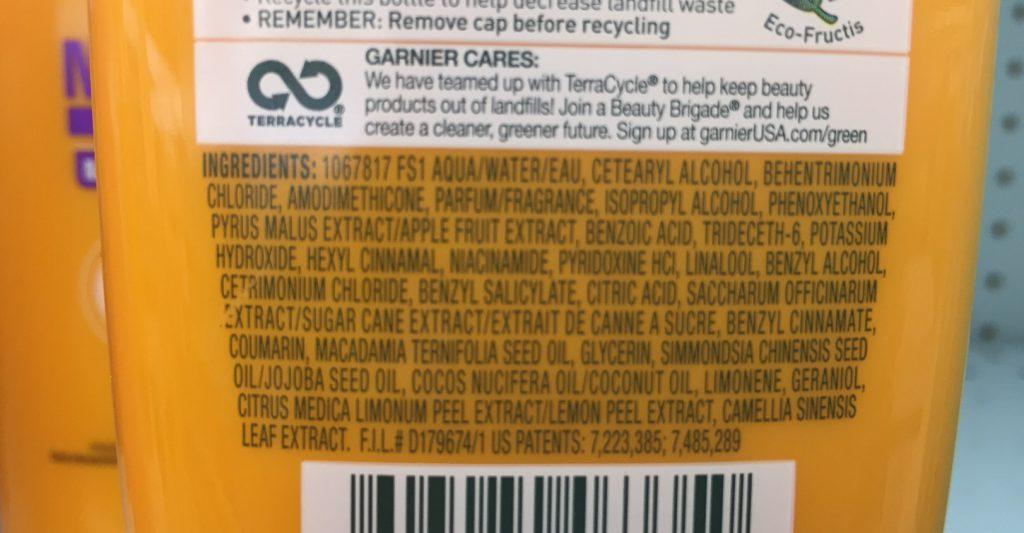 Garnier Curl Nourish cond ingredients many bad things