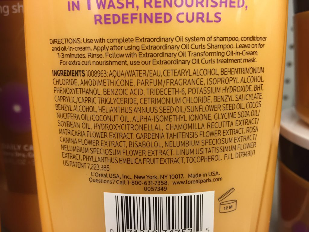 Loreal extraordinary oil conditioner ingredients