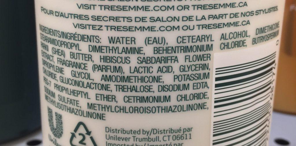 TRESemme Botanique curl hydration cond ingredients