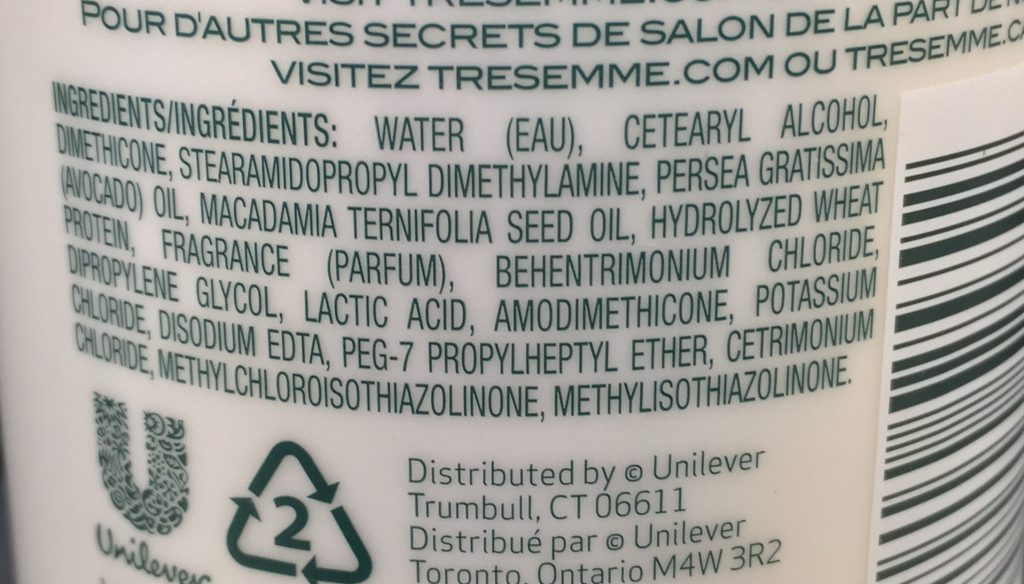 TRESemme expert botanique damage recovery cond ingredients